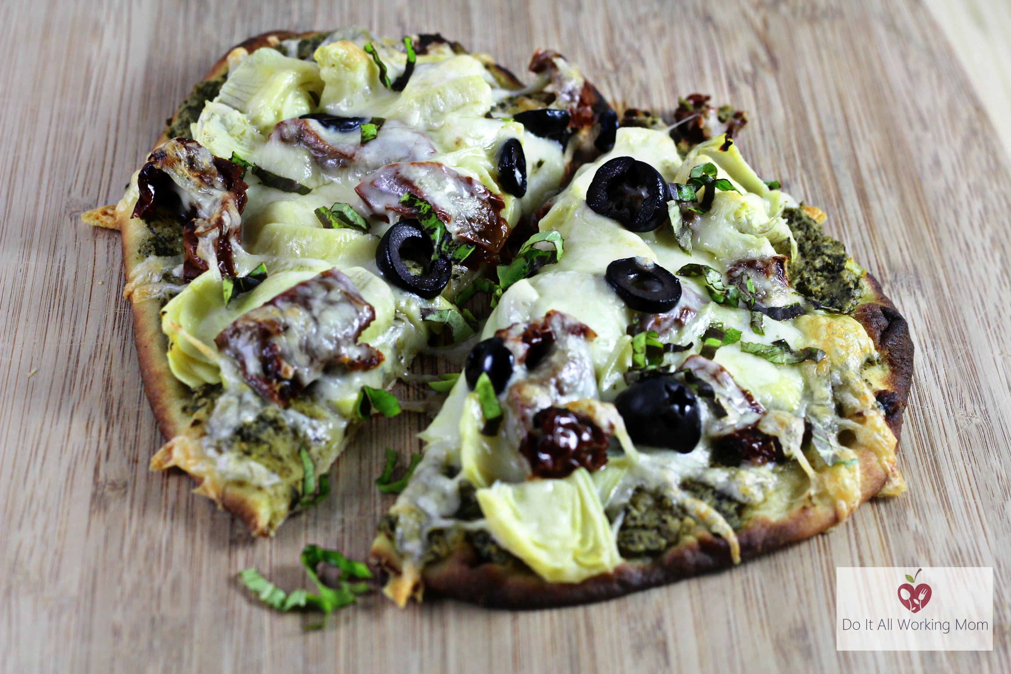5 min. Pesto and Artichoke Pizza