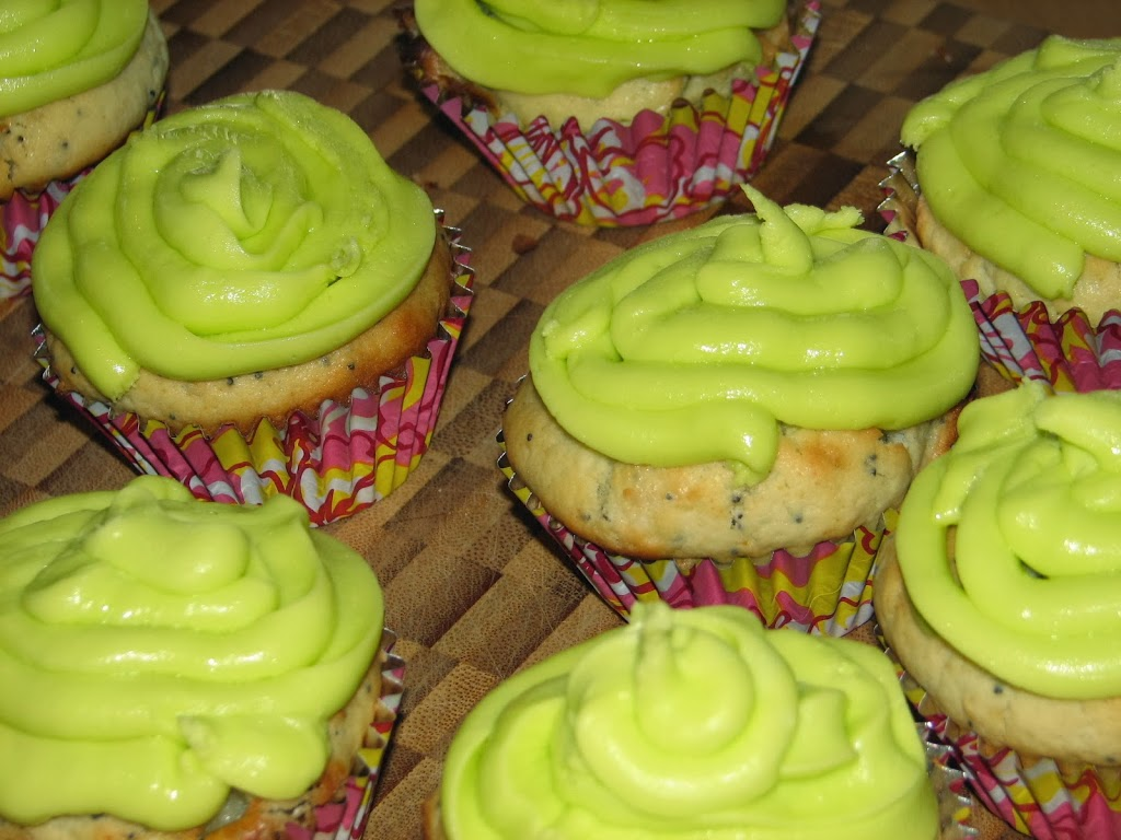 Lemon poppy seed muffins with lemon icing