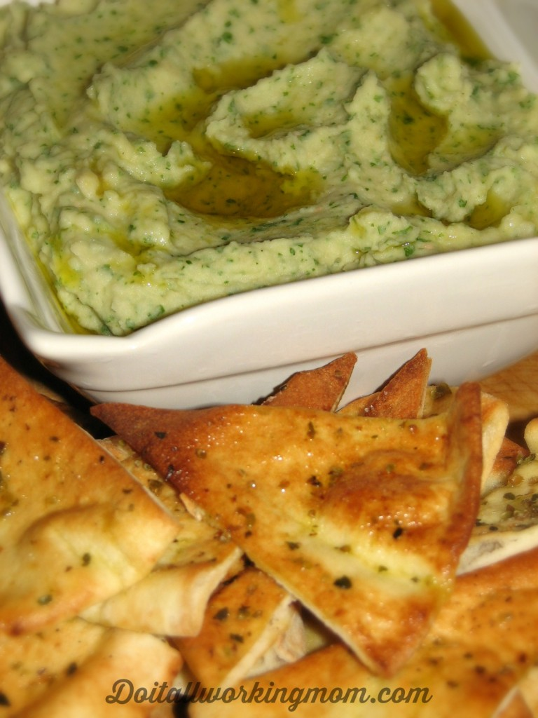 Cannellini bean dip and pita chips