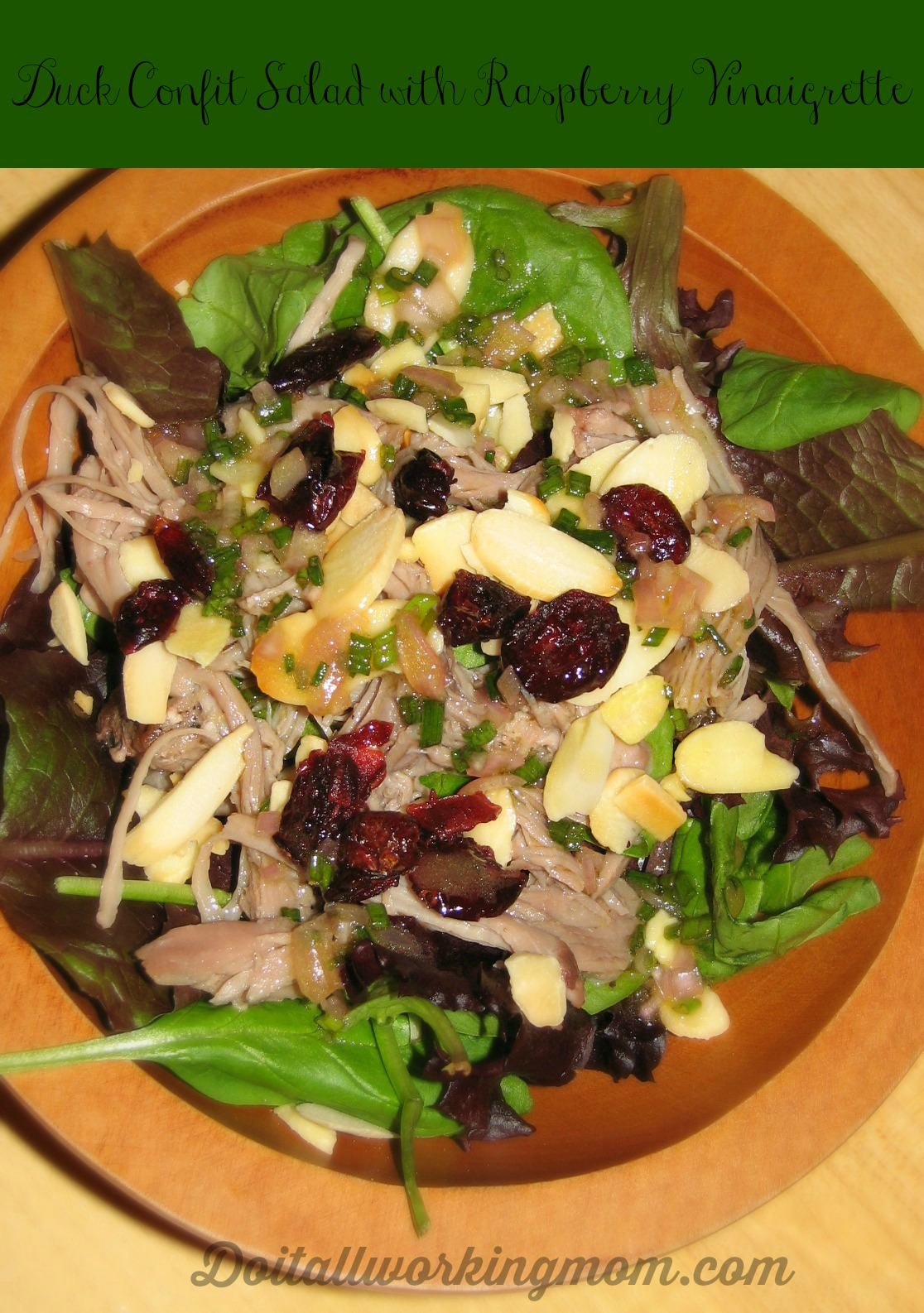 Duck Confit Salad wit Raspberry Vinaigrette