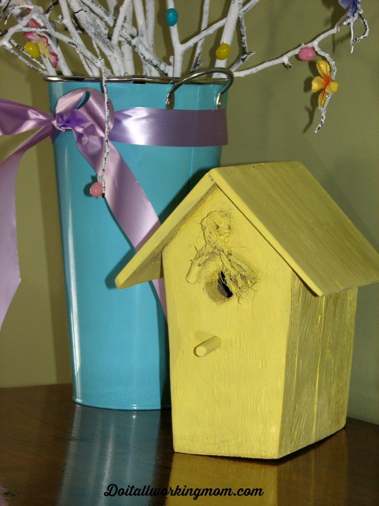 Do It All Working Mom - Easter Bird House & Easter Decoration Idea - Painted Birdhouse - Do It All Working Mom