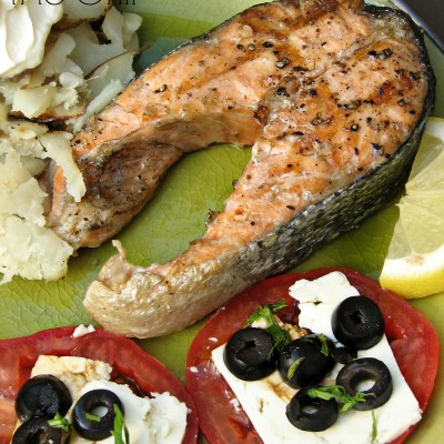 Salmon Steak on the Grill