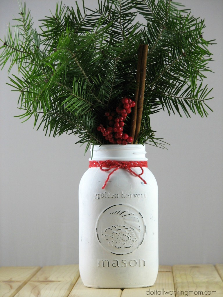 Simple christmas mason jar decoration do it all working mom for Simple christmas decorations