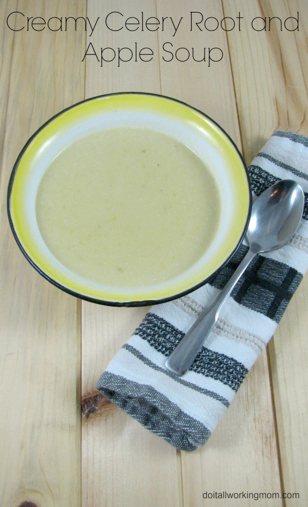 Creamy celery root and apple soup