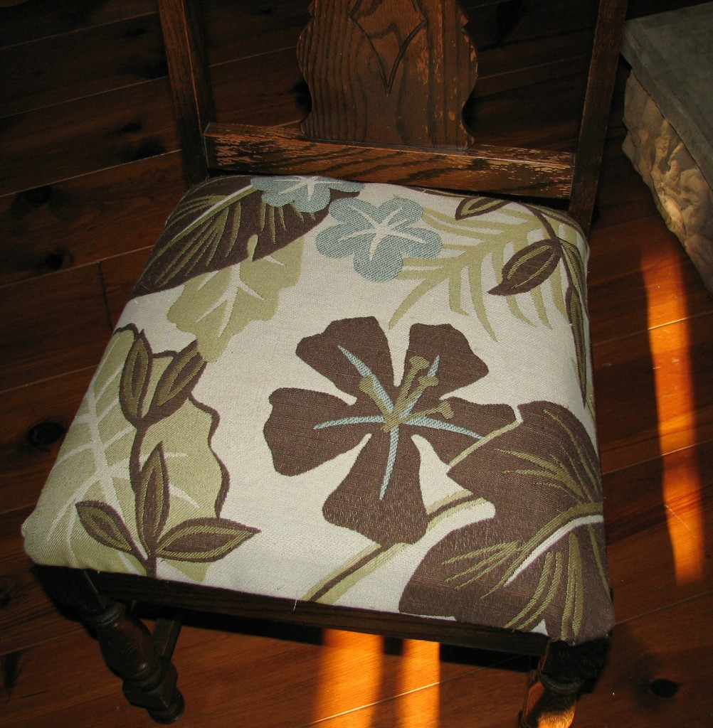 How to reupholster a chair using old cushions